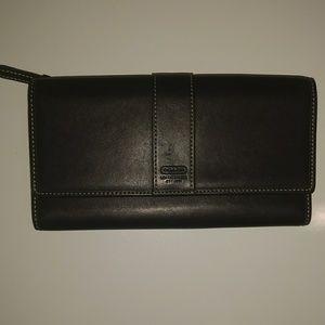 Coach Leather Black Snap Wallet